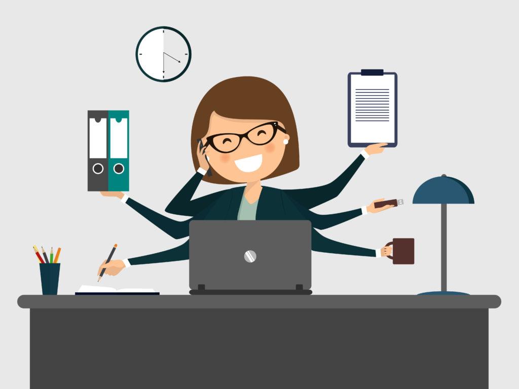 パソコンで作業する女性のイラスト