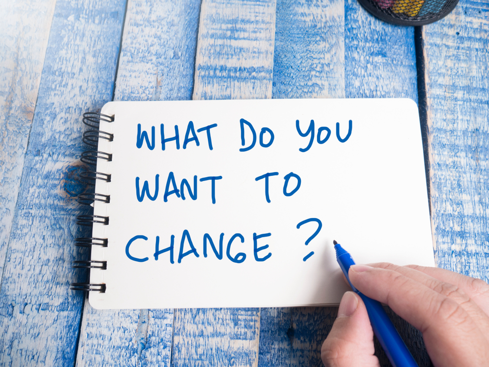 WHAT DO YOU WANT TO CHANGE?の文字