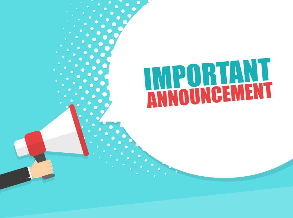 「important announcement」